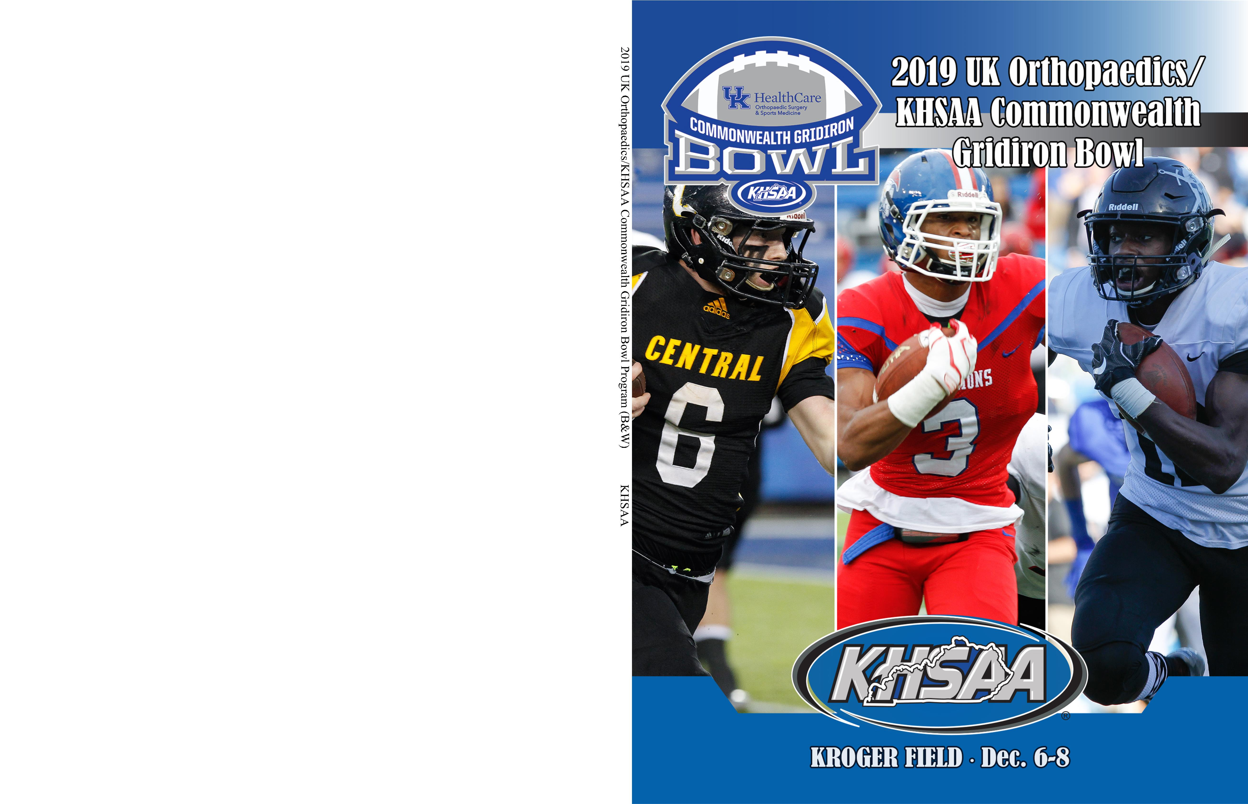 2019 UK Orthopaedics/KHSAA Commonwealth Gridiron Bowl Program (B&W) cover image