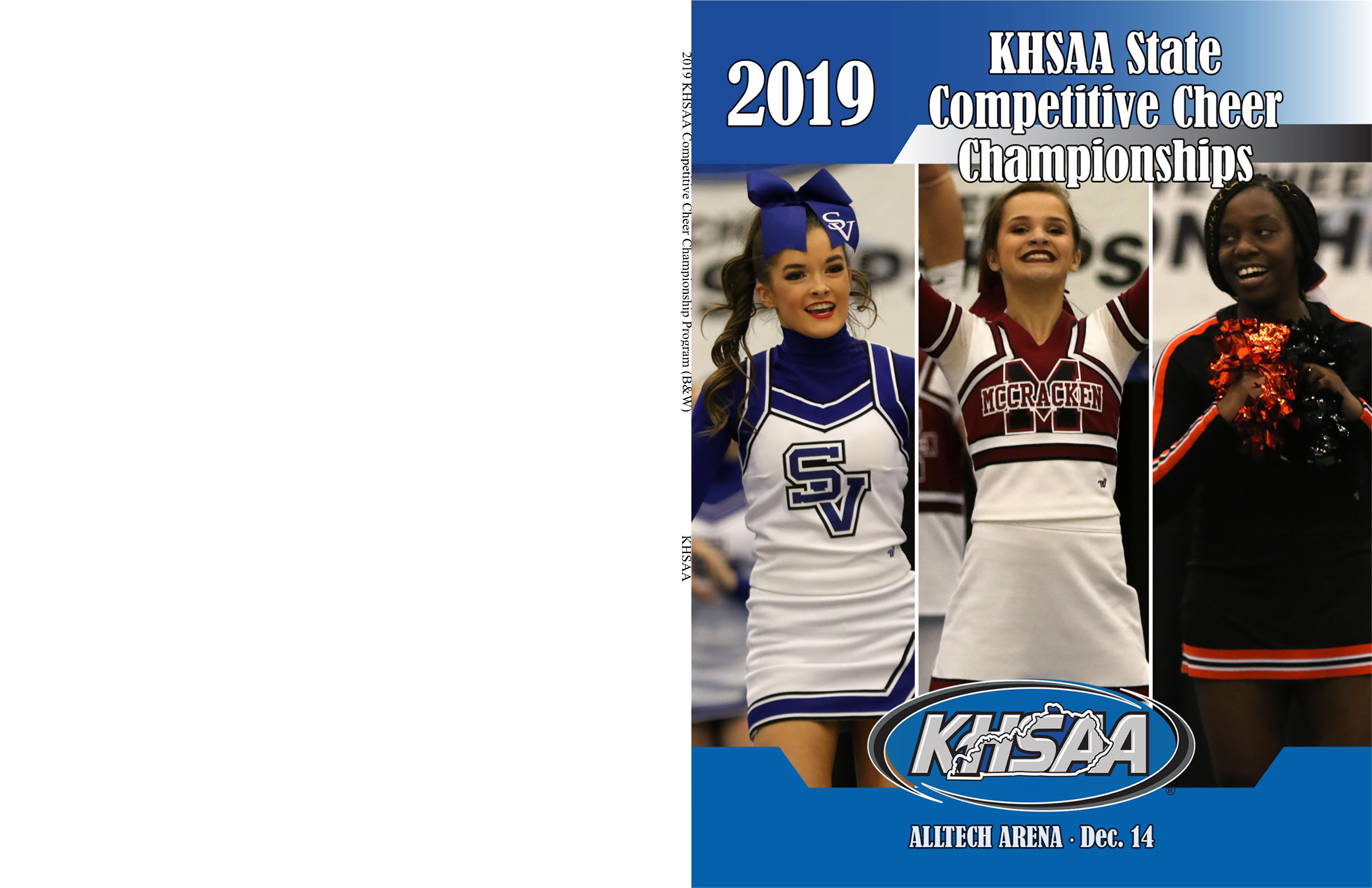 2019 KHSAA Competitive Cheer Championship Program (B&W) cover image