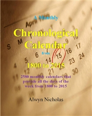 A Monthly Chronological Calendar from 1800 to 2015 cover image