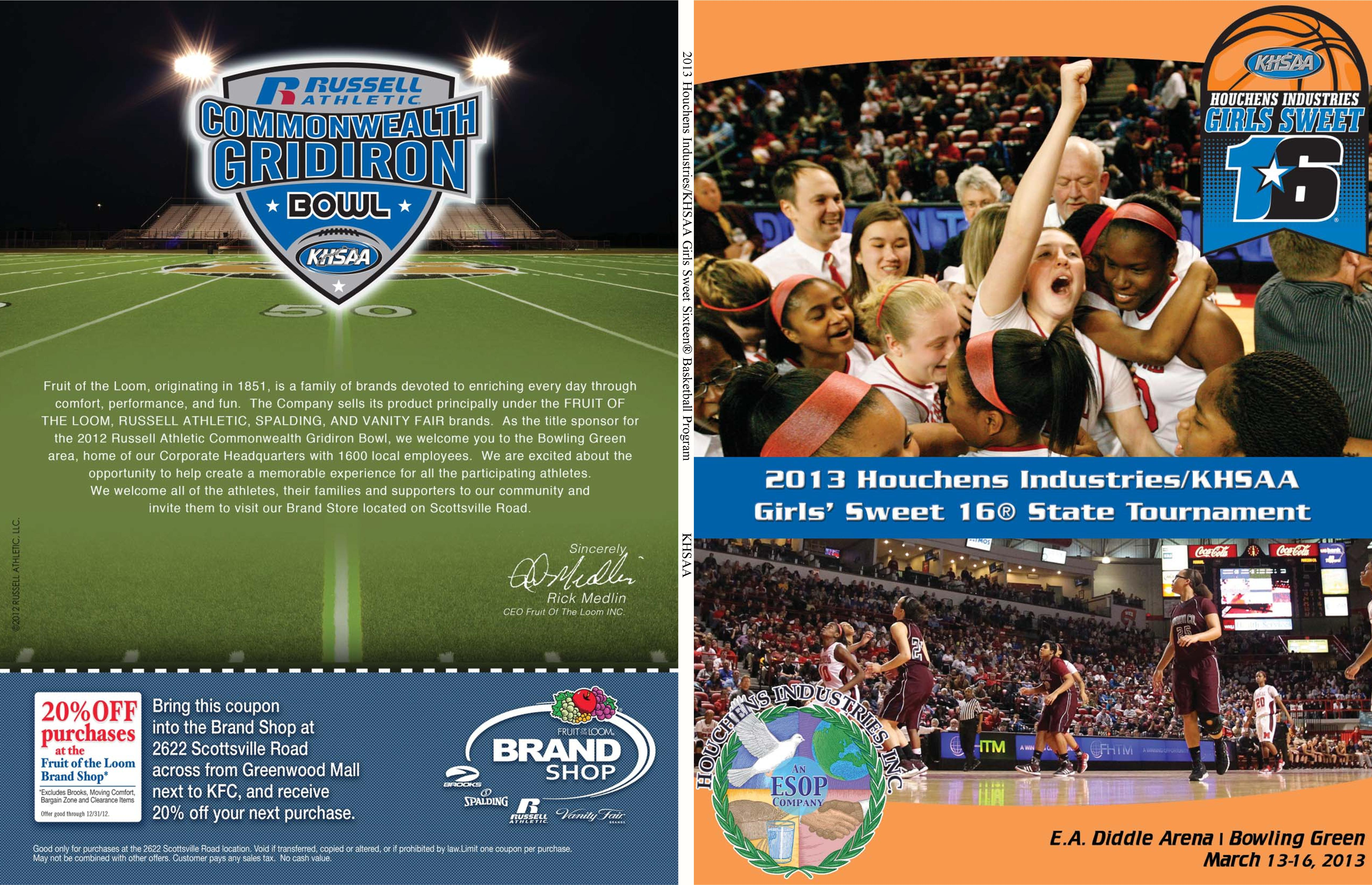 2013 Houchens Industries/KHSAA Girls Sweet Sixteen® Basketball Program cover image