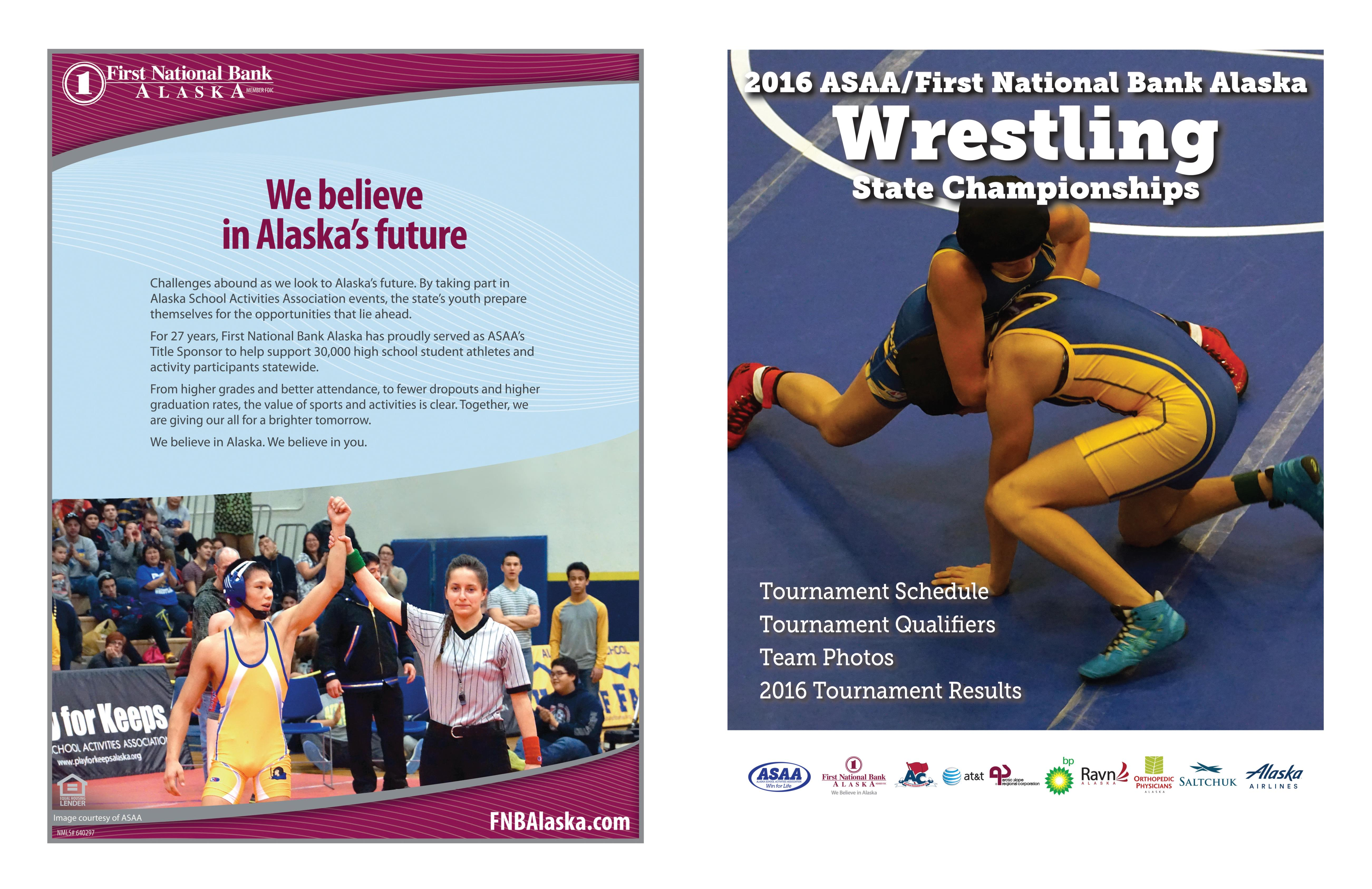 2016 ASAA/First National Bank Alaska Wrestling State Championships Program cover image