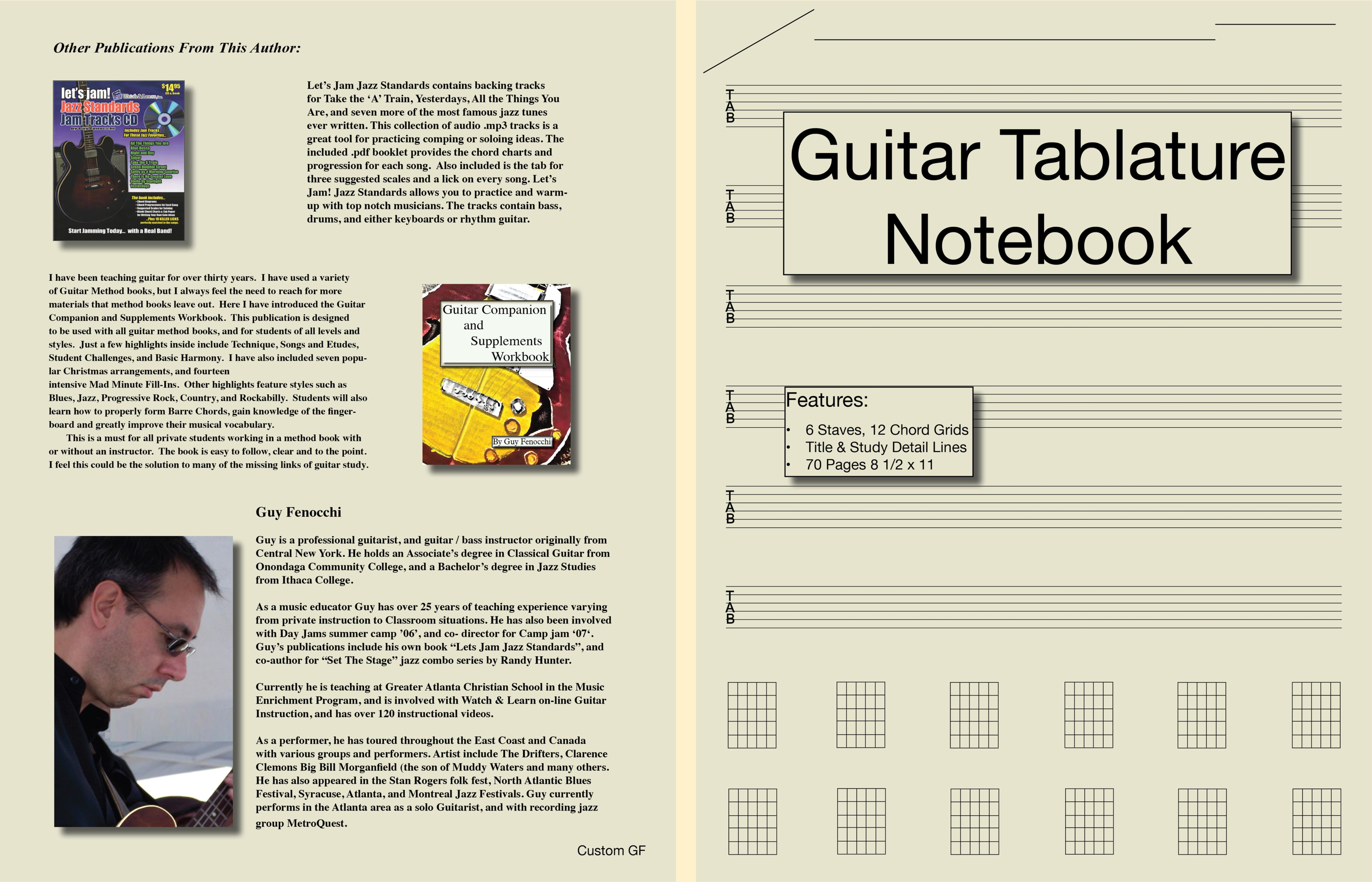 Guitar Tablature Notebook by Guy Fenocchi : $5.36 : TheBookPatch.com