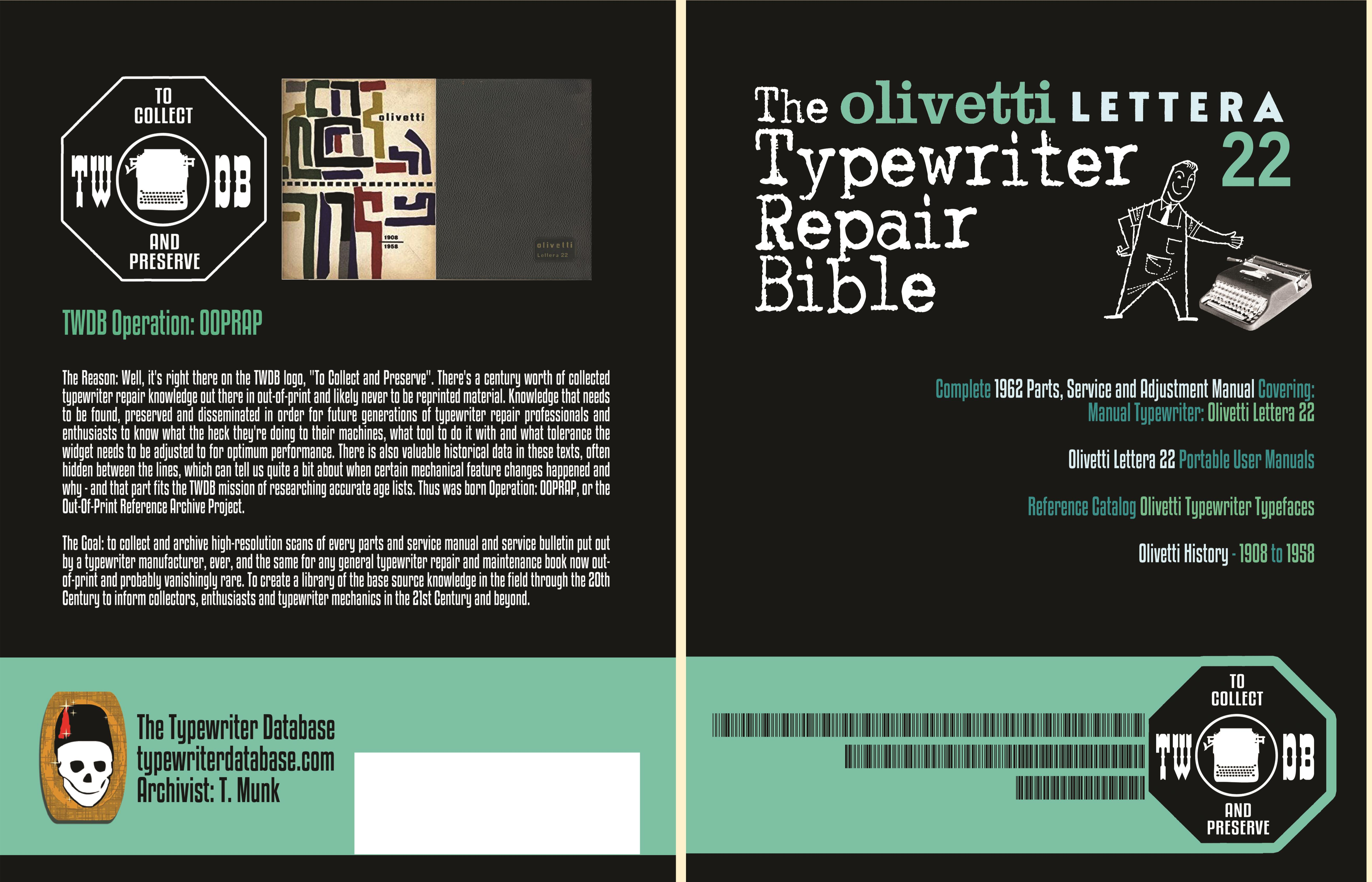 The Olivetti Lettera 22 Typewriter Repair Bible cover image