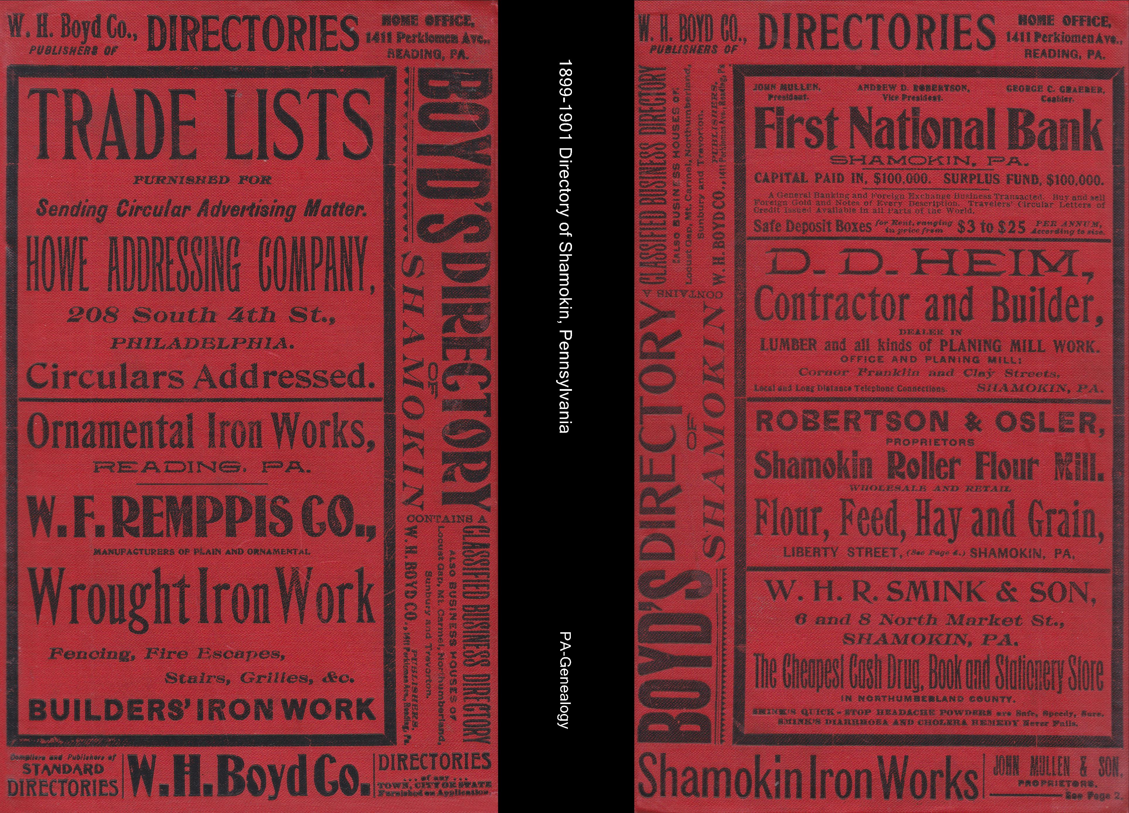 1899-1901 Directory of Shamokin, PA cover image