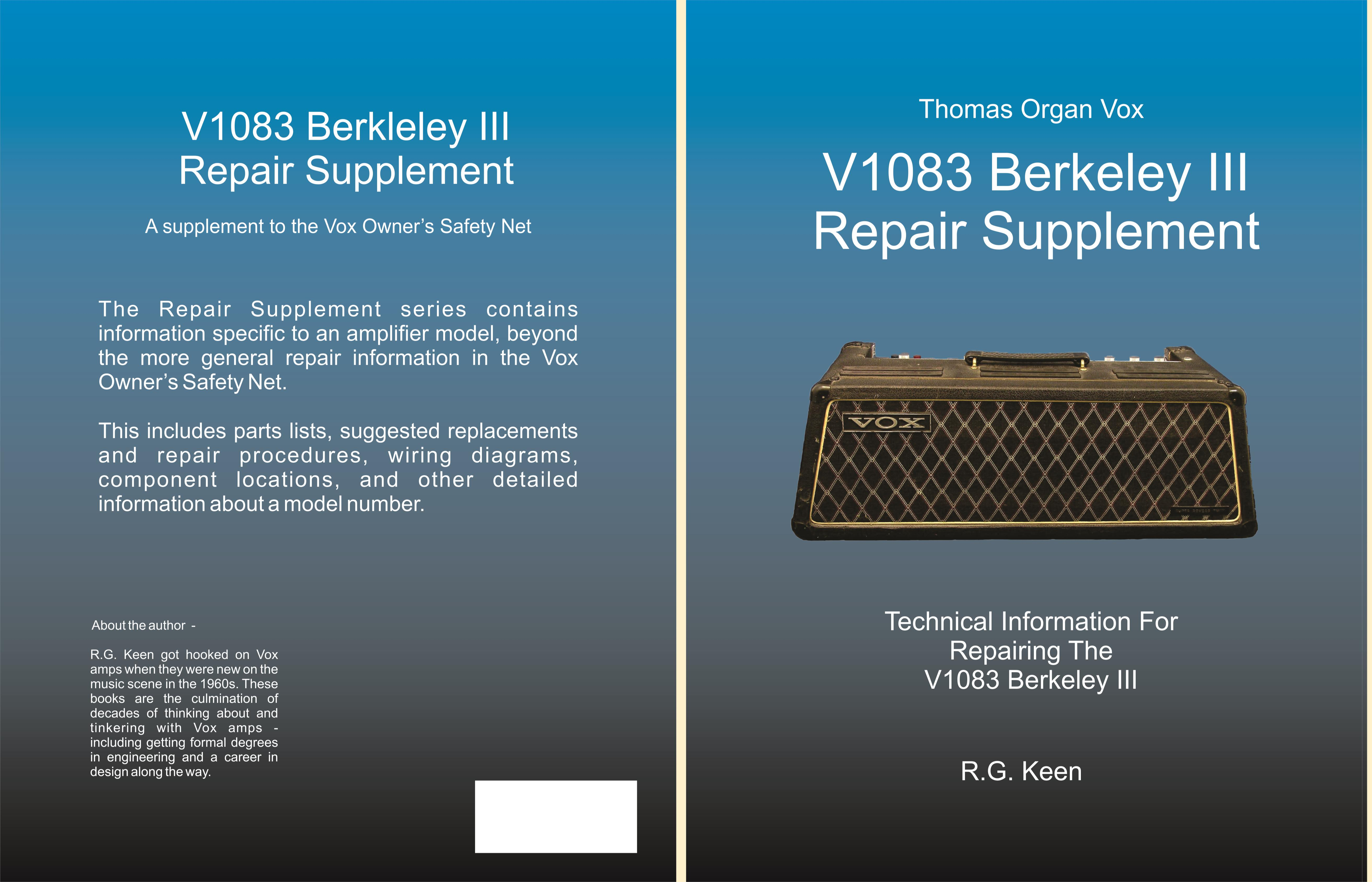 V1083 Berkeley Iii Repair Supplement By Rg Keen 1865 Thomas Wiring Diagrams Cover Image