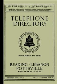 1919 Telephone Directory - Reading, Lebanon, Pottsville and Nearby Places cover image