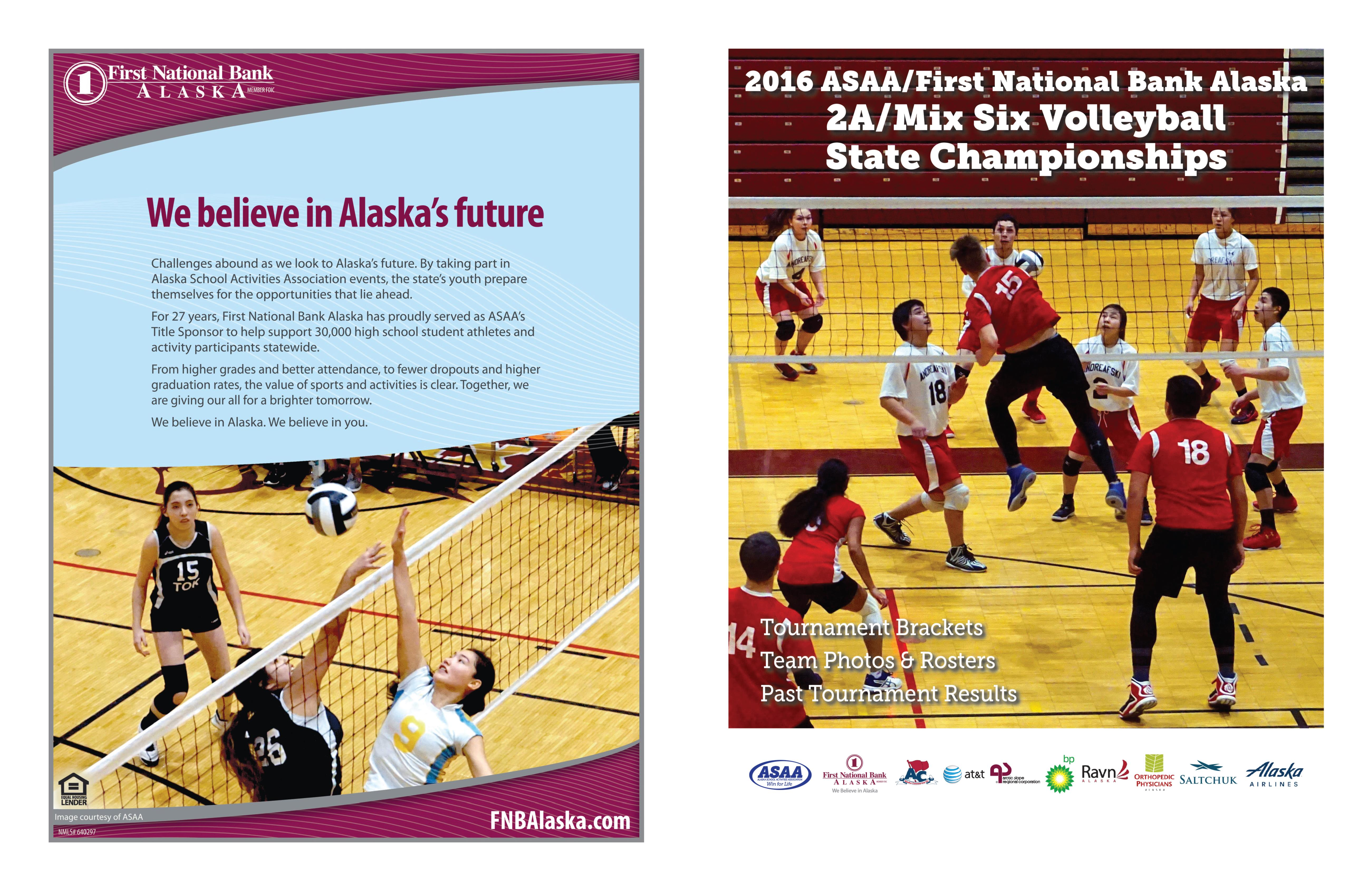 2016 ASAA/First National Bank Alaska 2A/Mix Six Volleyball State Championships Program cover image