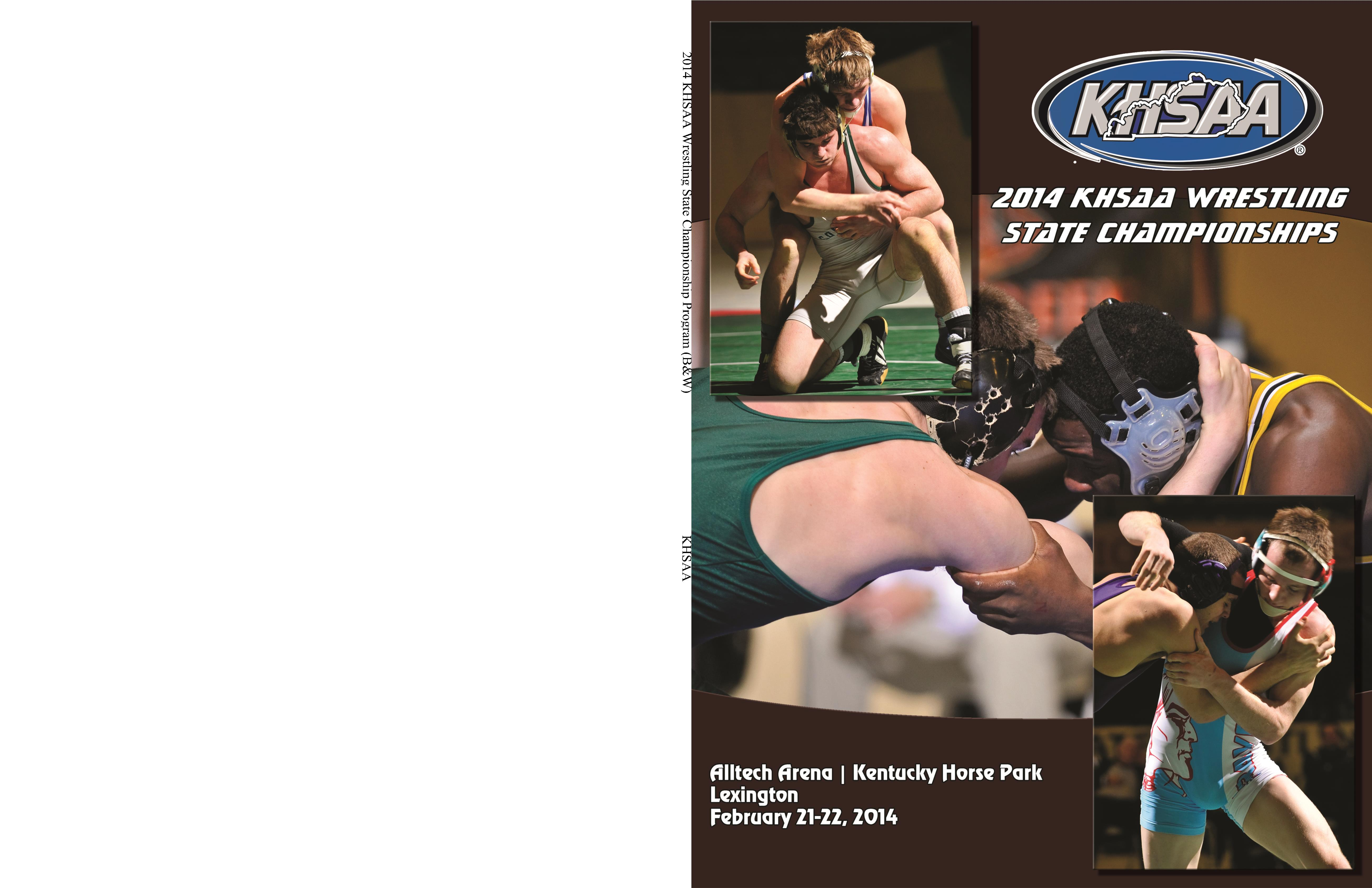 2014 KHSAA Wrestling State Championship Program (B&W) cover image