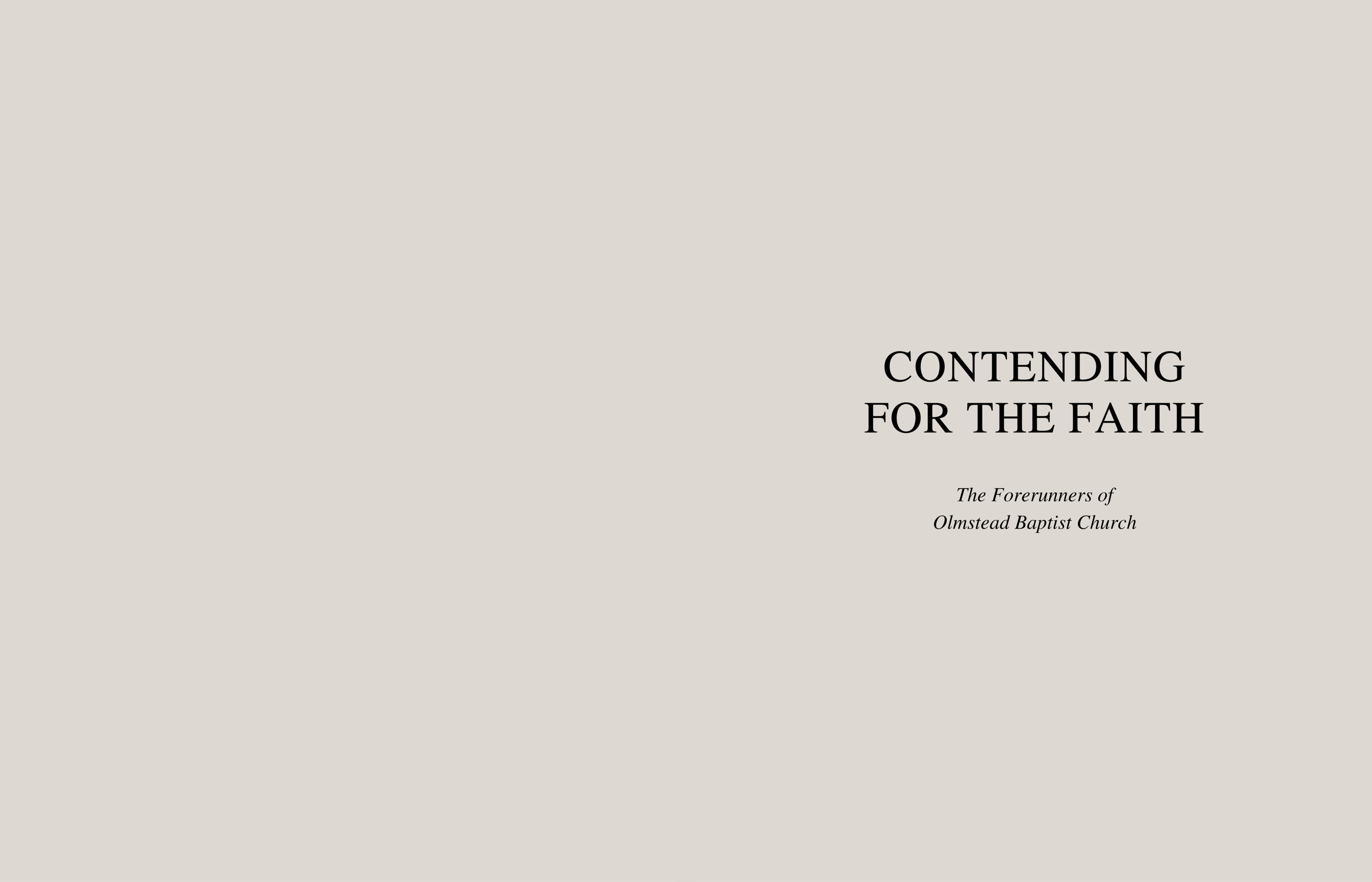 Contending for the Faith: The Forerunners of Olmstead Baptist Church cover image