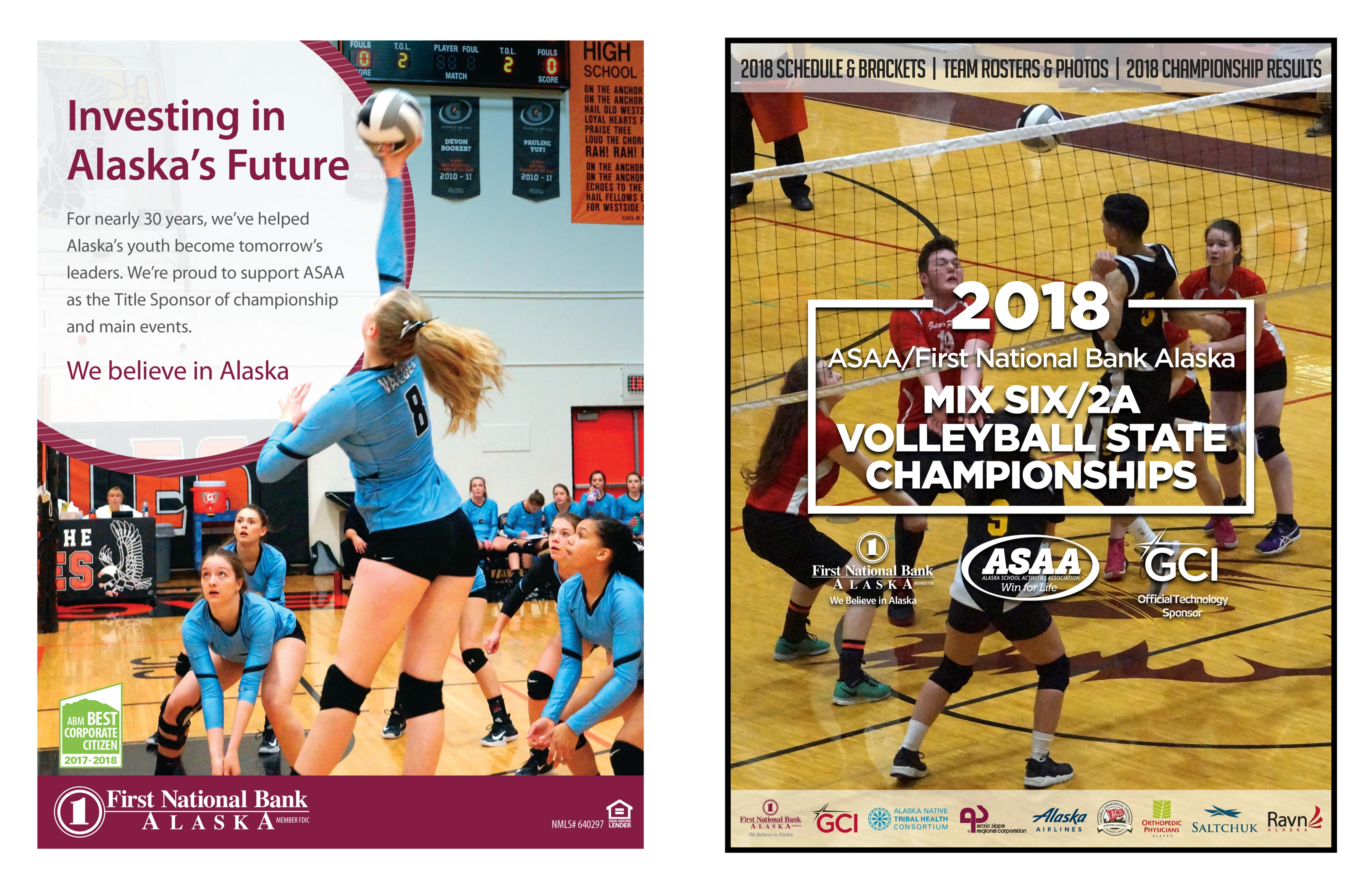2018 ASAA/First National Bank Alaska Mix Six/2A Volleyball State Championships Program cover image