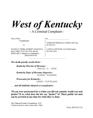 West of Kentucky - A Criminal Complaint cover image