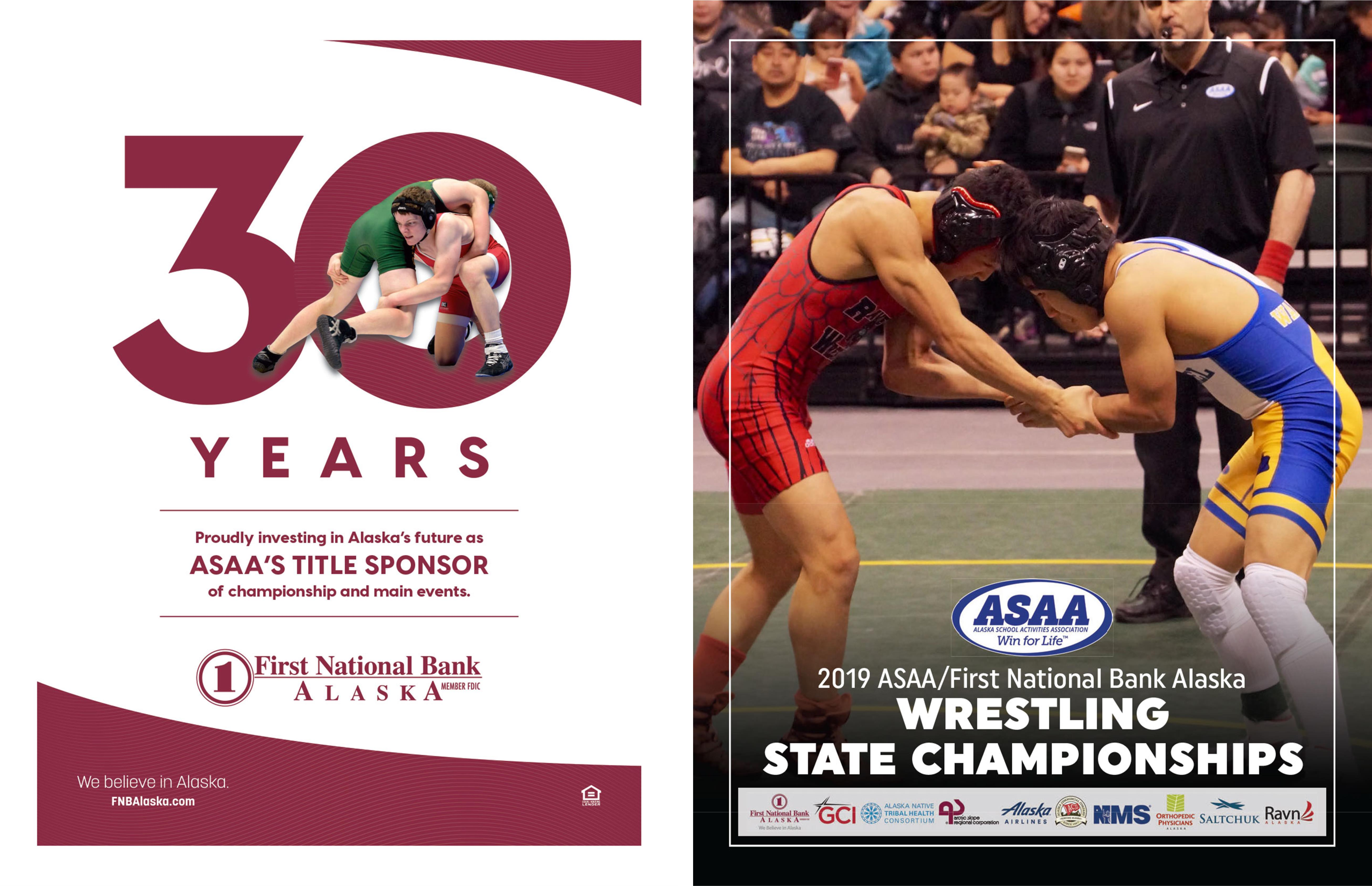 2019 ASAA/First National Bank Alaska Wrestling State Championship Program cover image