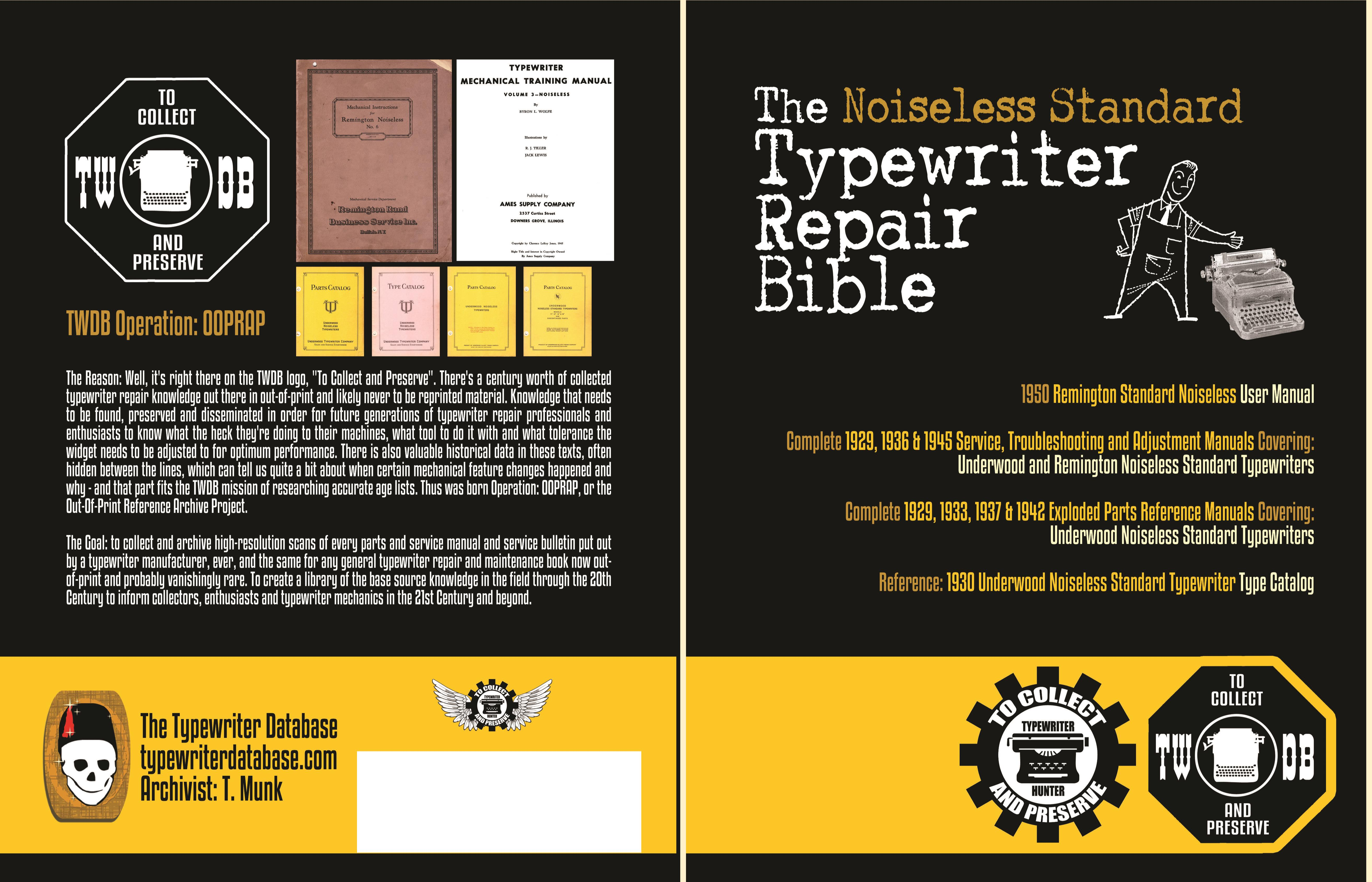 The Noiseless Standard Typewriter Repair Bible cover image