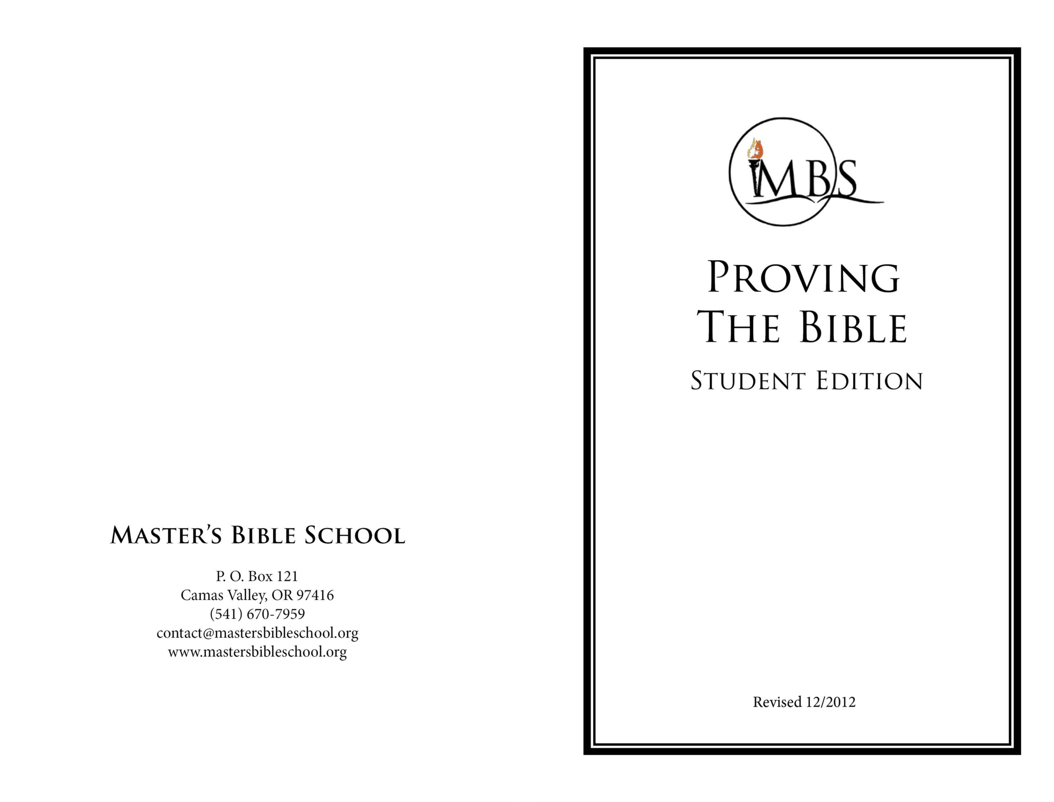 Proving the Bible - Student Edition cover image