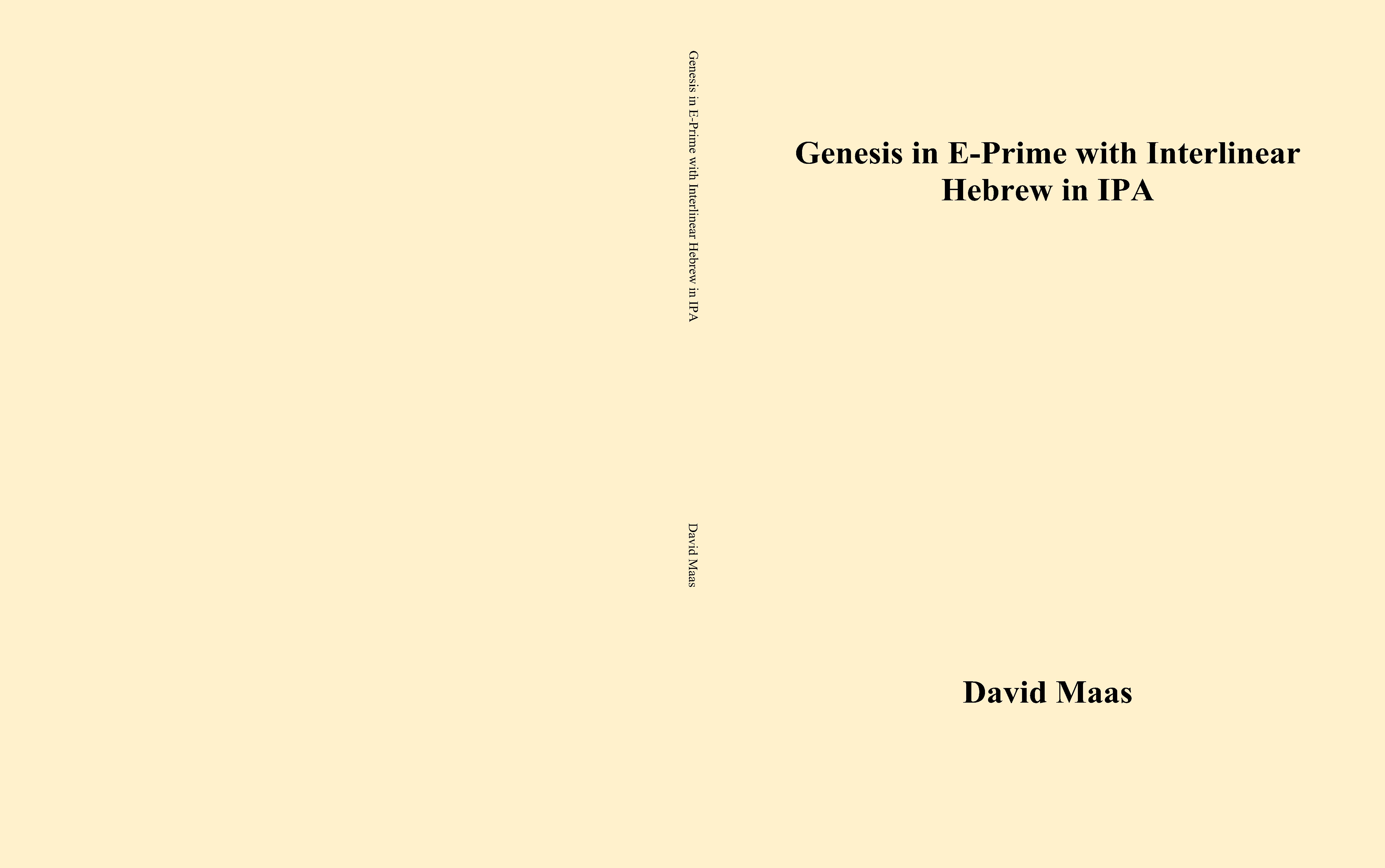 Genesis in E-Prime with Interlinear Hebrew in IPA cover image