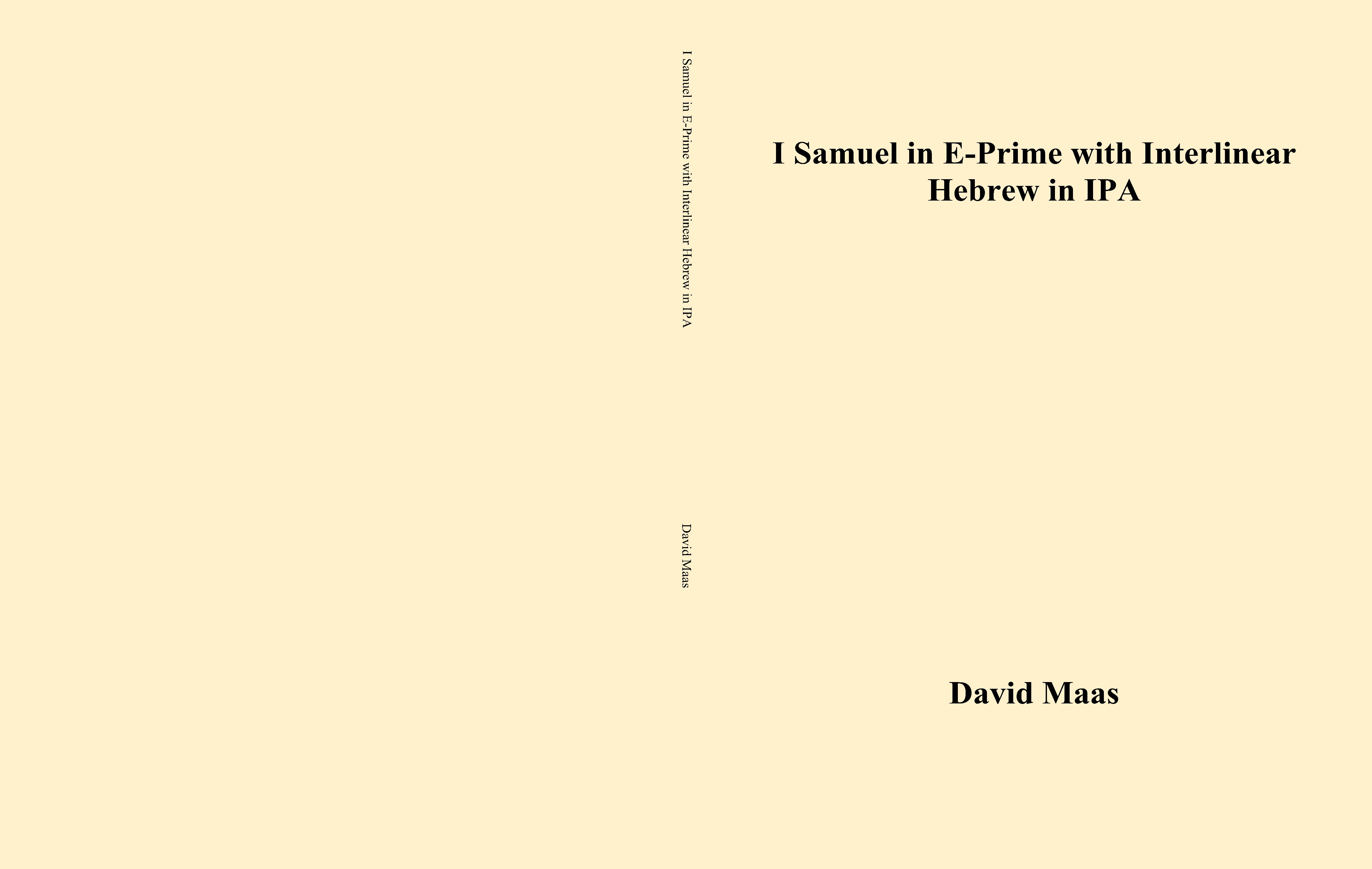 I Samuel in E-Prime with Interlinear Hebrew in IPA cover image