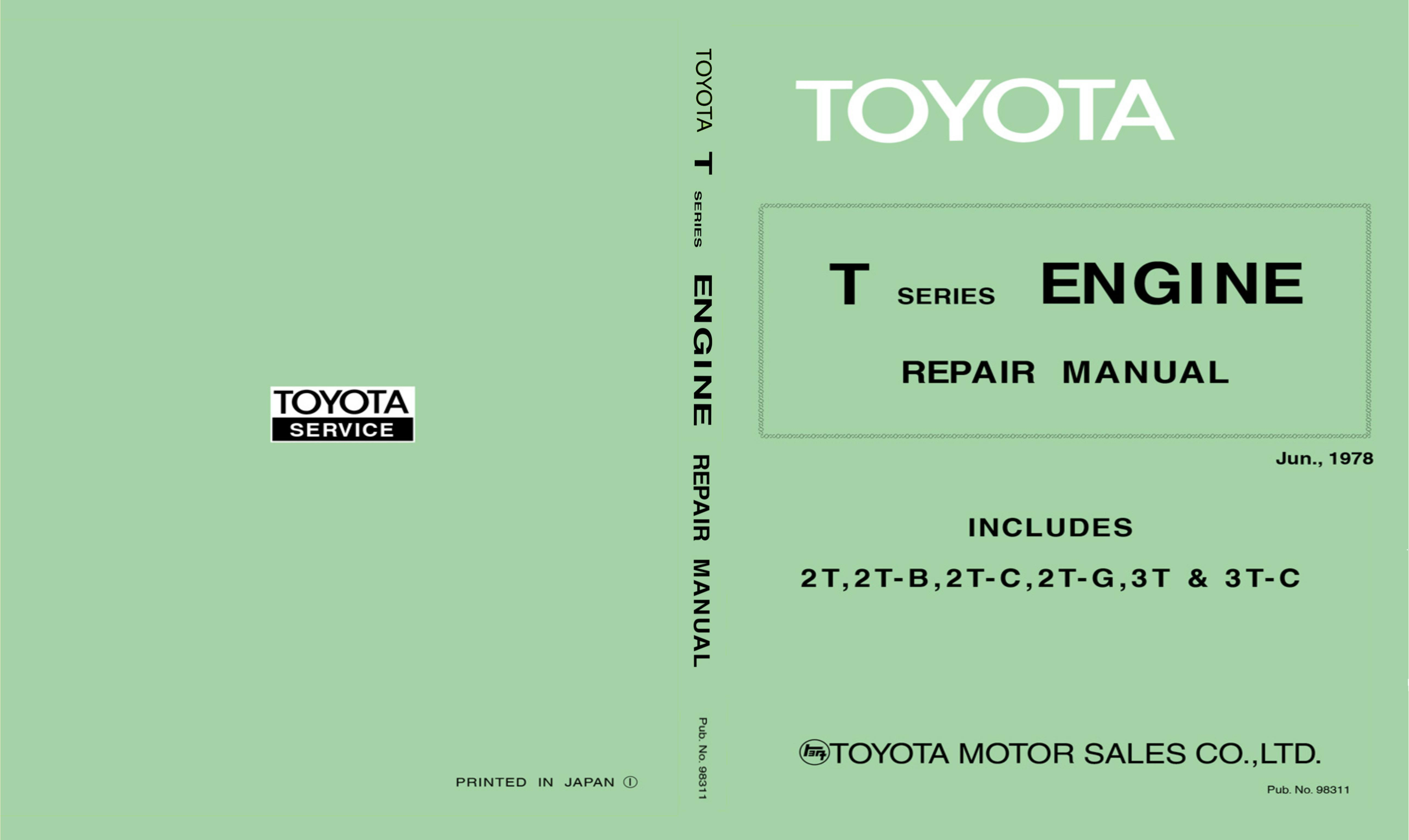 Toyota 2tg service Manual cover image