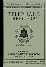 1920 Telephone Directory - Harrisburg, Carlisle, Chambersburg, Waynesboro and Nearby Places cover image