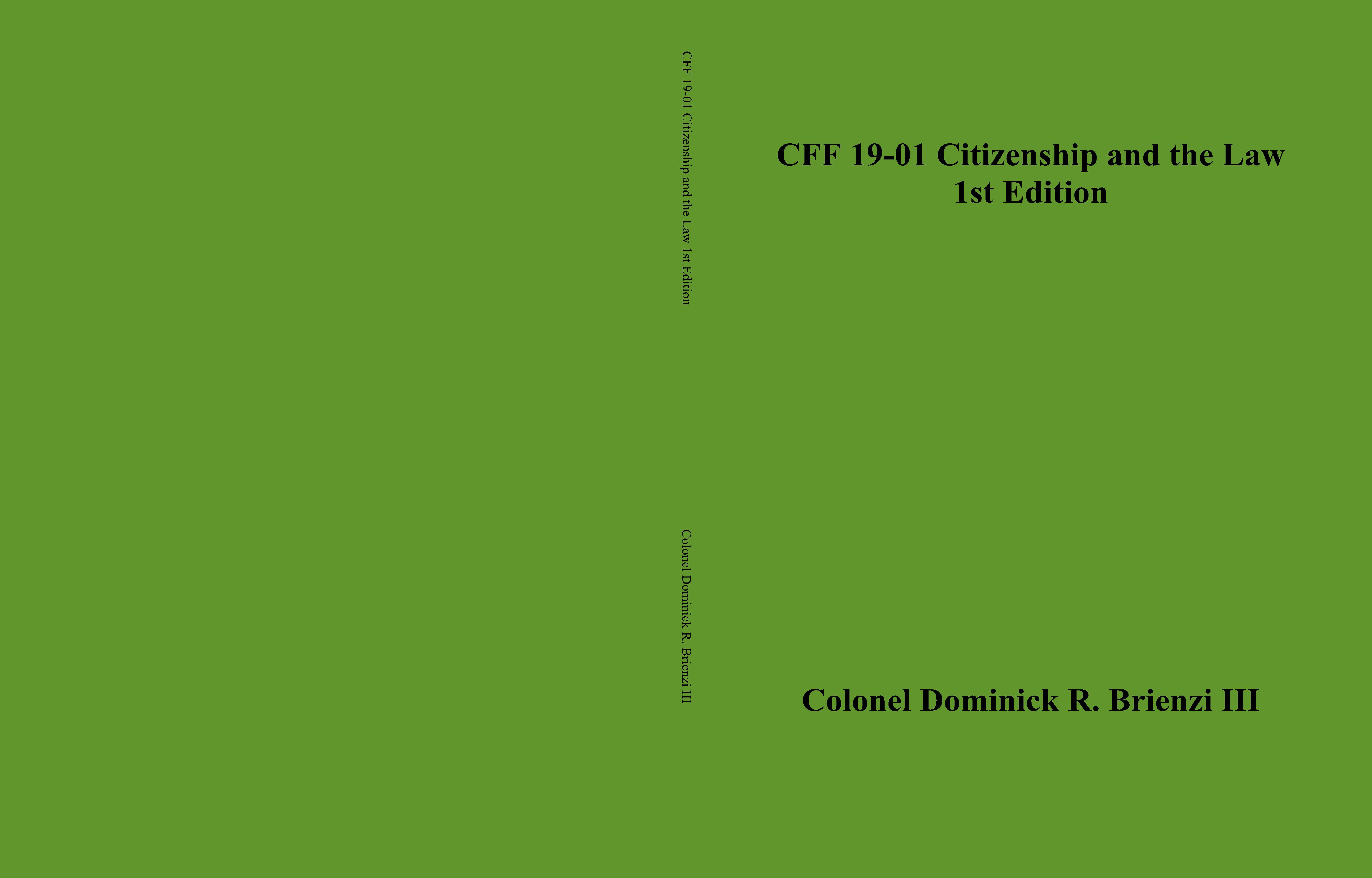 CFF 19-01 Citizenship and the Law 1st Edition cover image