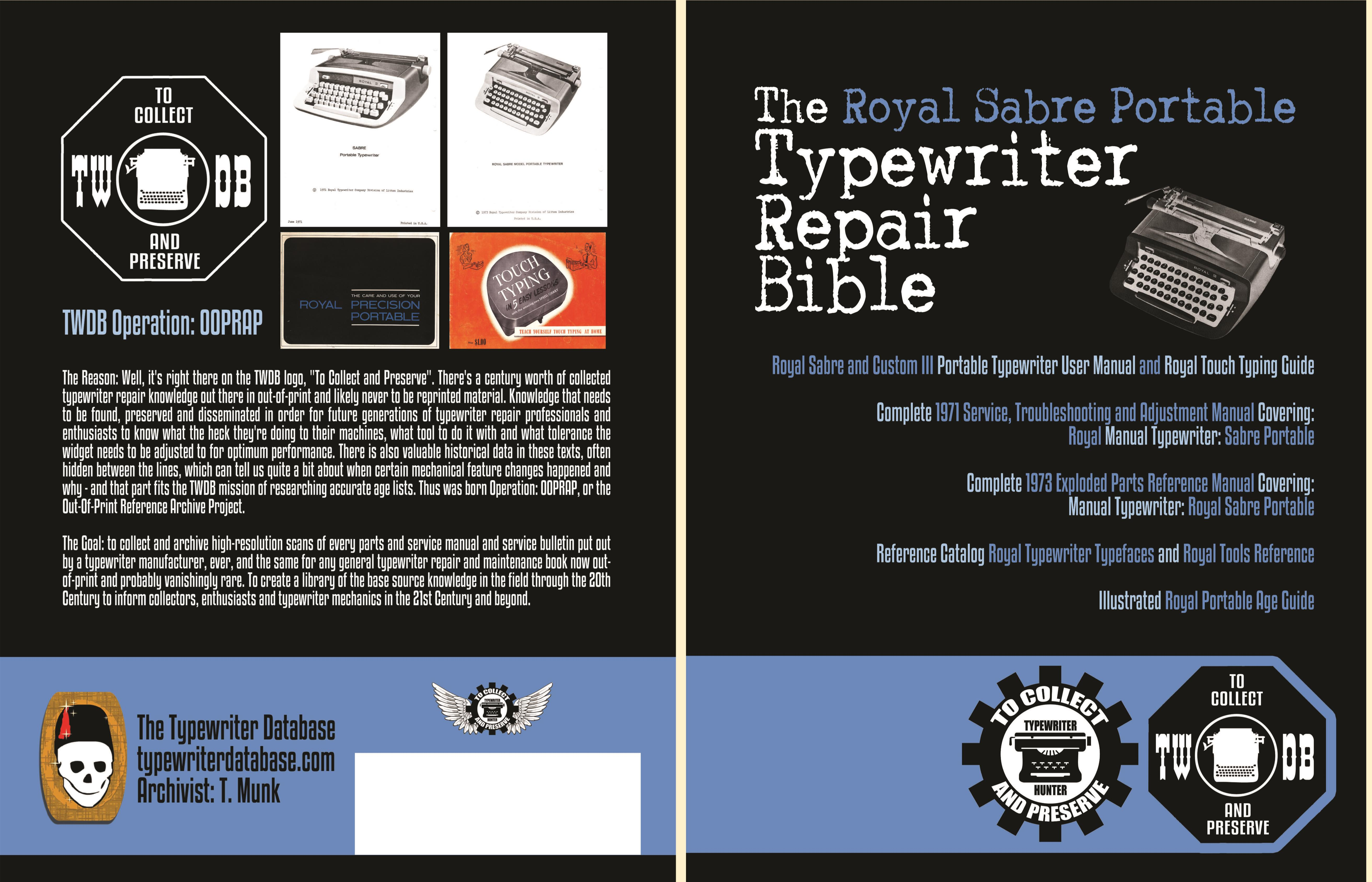 The Royal Sabre Portable Typewriter Repair Bible cover image