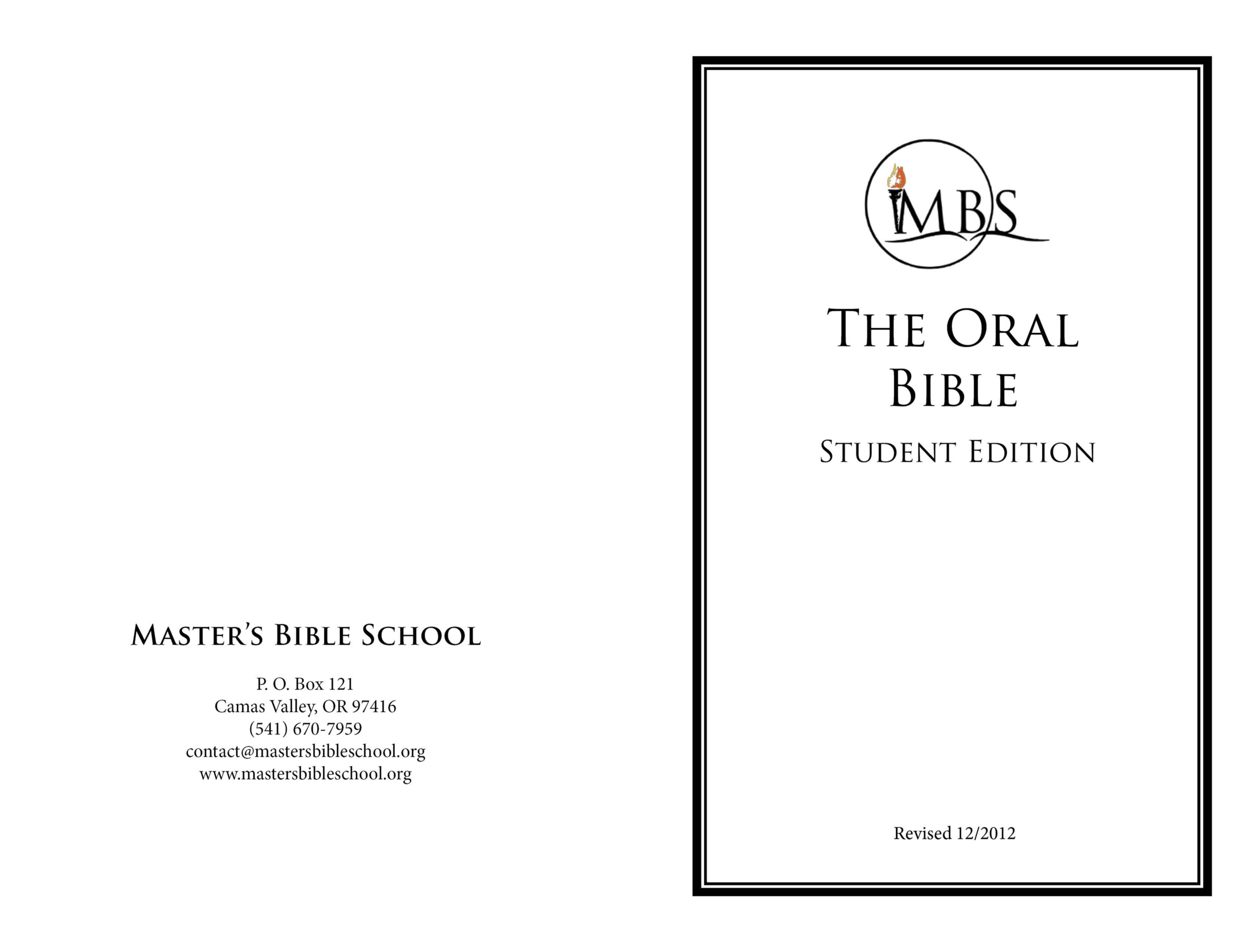 The Oral Bible - Student Edition cover image