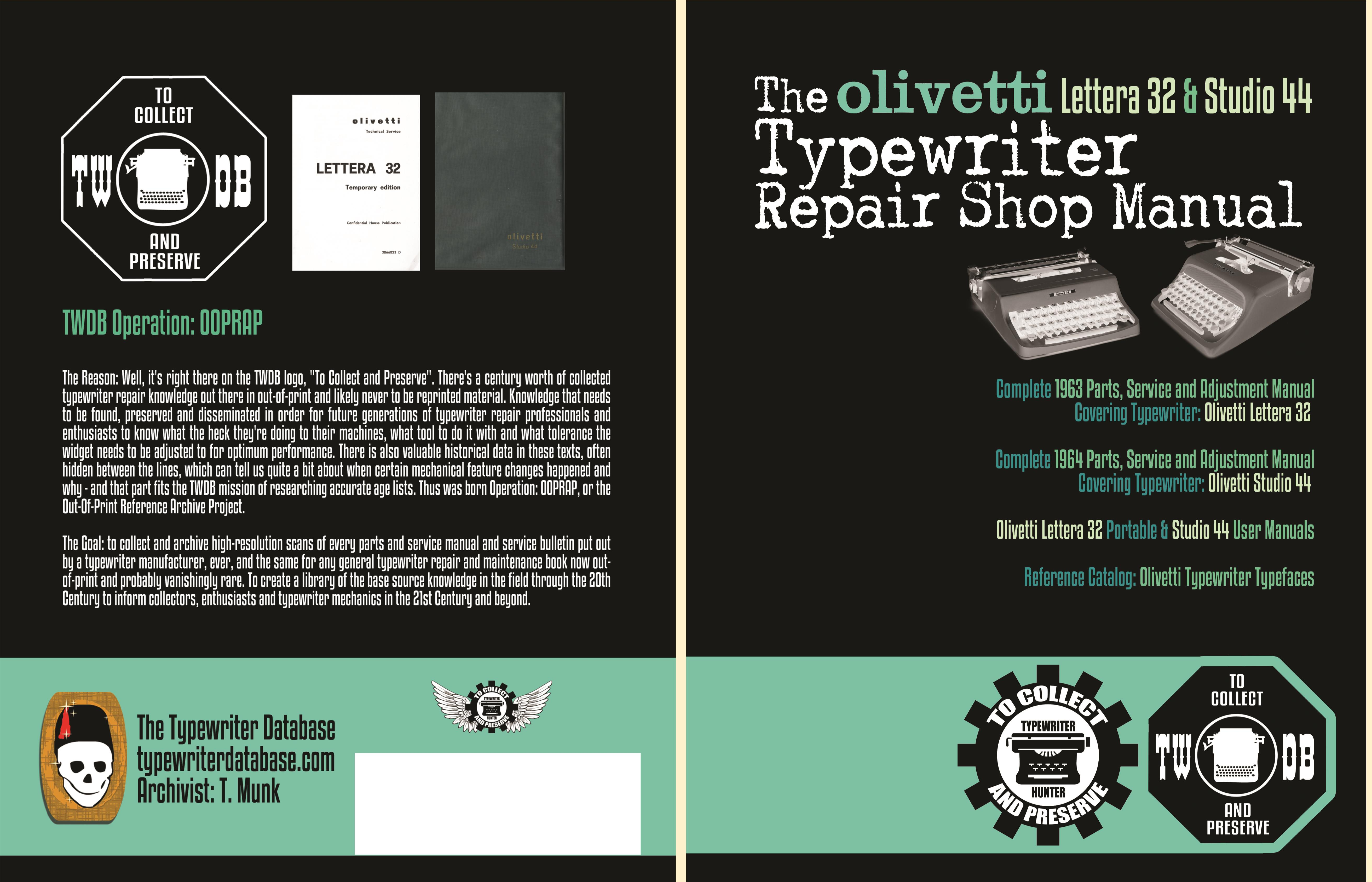 The Olivetti Lettera 32 & Studio 44 Typewriter Repair Shop Manual cover image