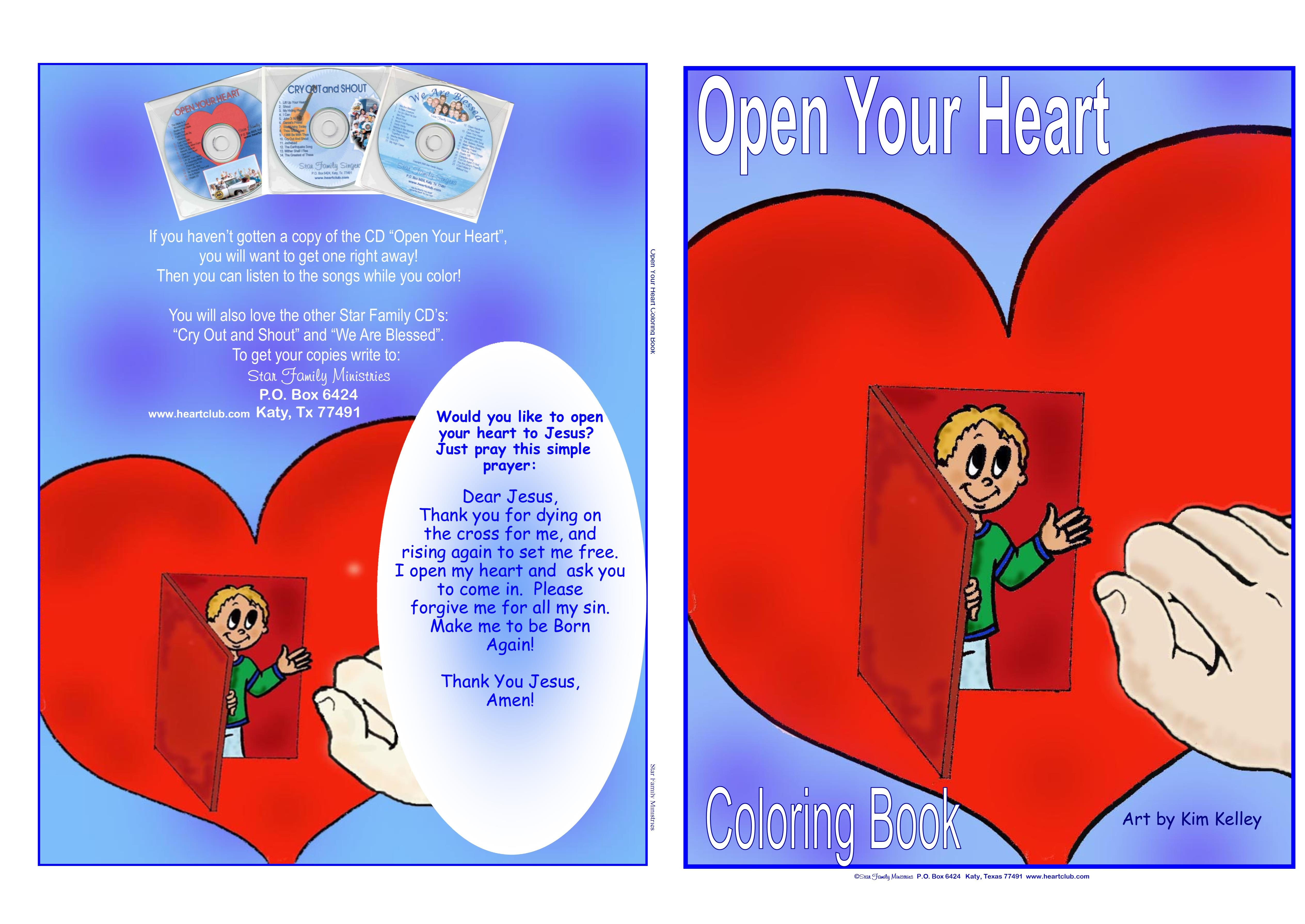 Open Your Heart Coloring Book by Star Family Ministries : $4.00 ...