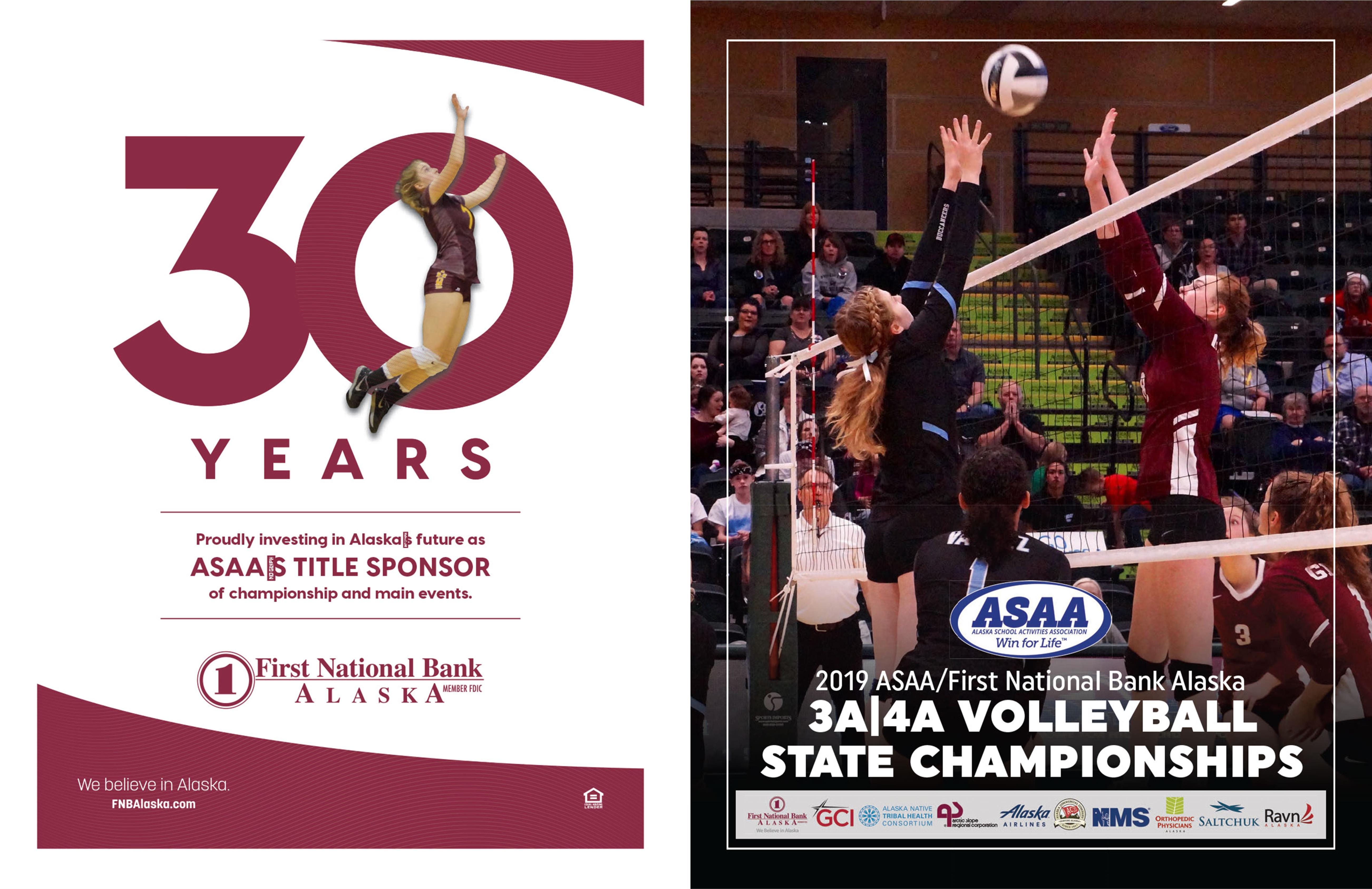 2019 ASAA/First National Bank Alaska 3A/4A Volleyball State Championships Program cover image