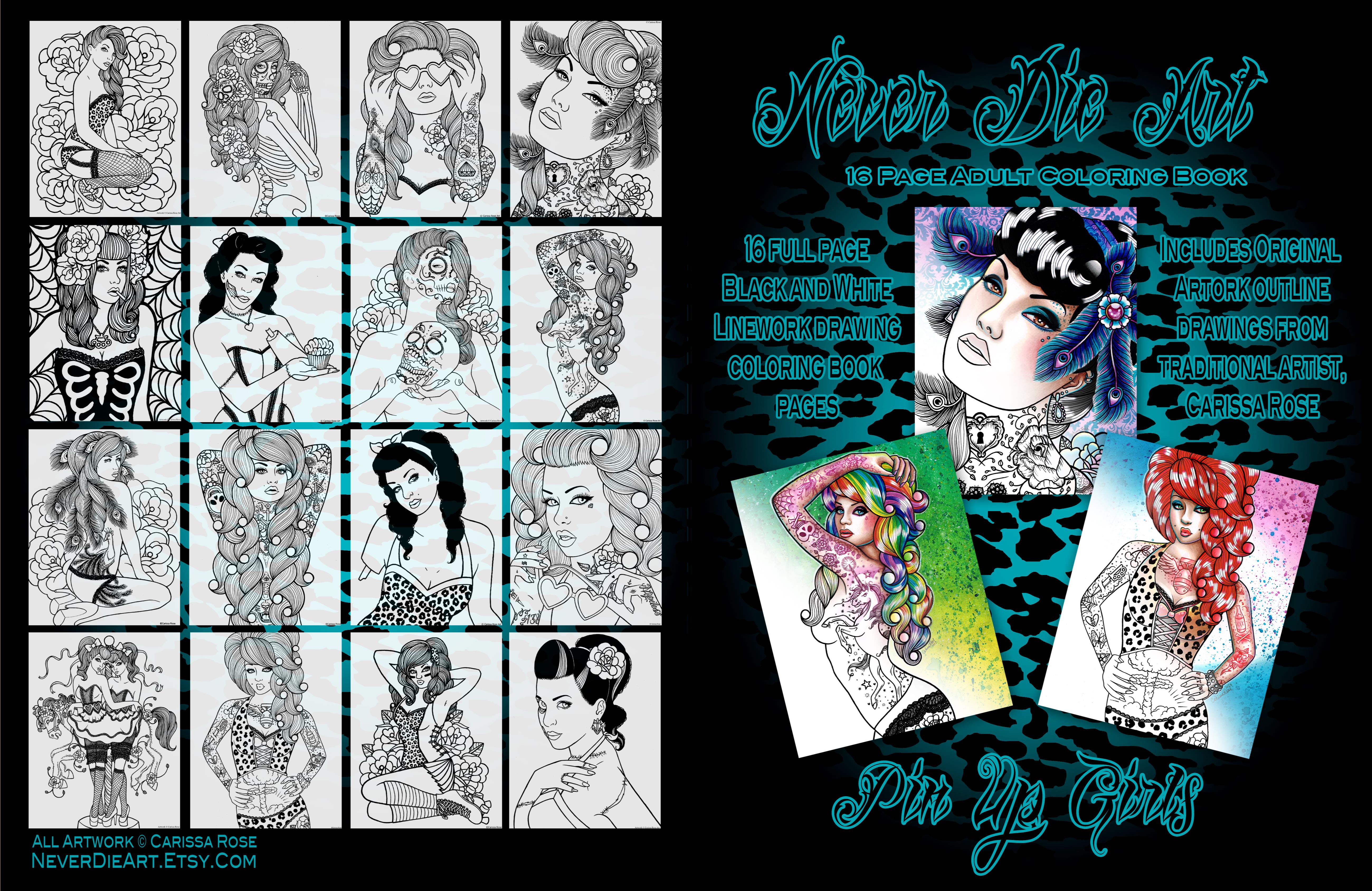 Never Die Art Coloring Book - Pin Up Girls by Carissa Rose Stevens ...