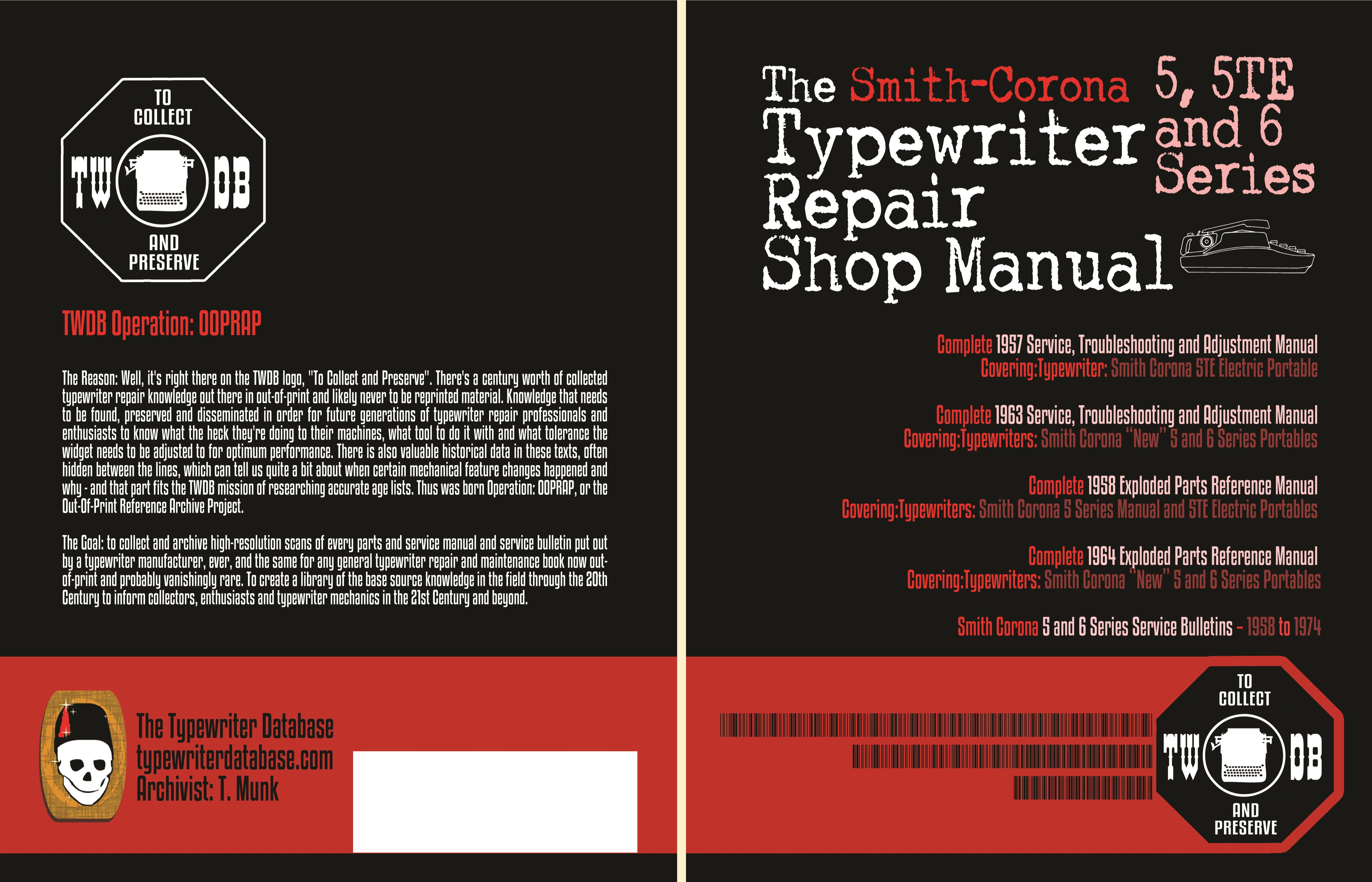 The Smith Corona 5, 5TE and 6 Series Typewriter Repair Shop Manual cover image