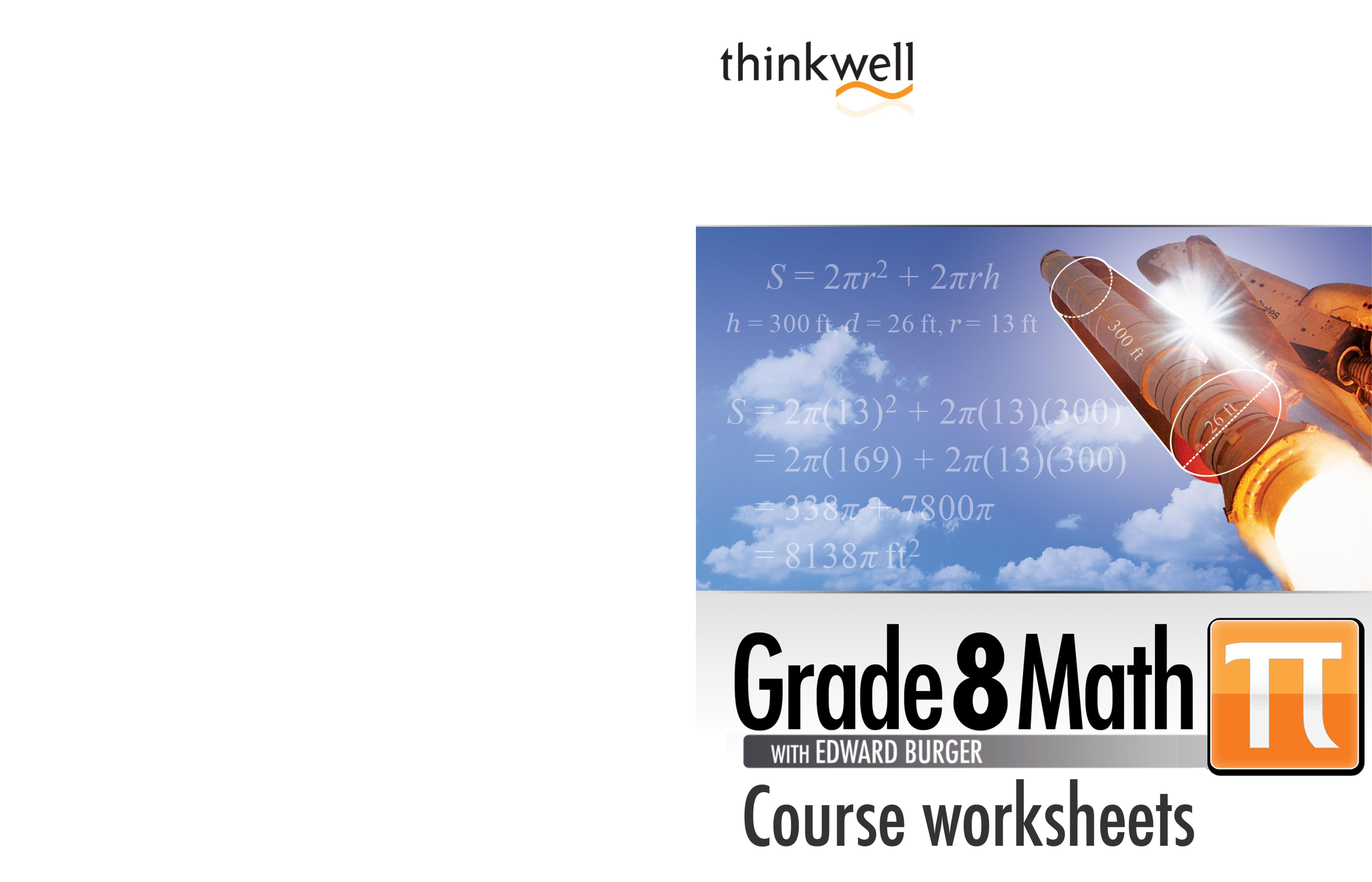 thinkwell grade 8 math worksheets and answer keys by thinkwell corp 9781605380896. Black Bedroom Furniture Sets. Home Design Ideas