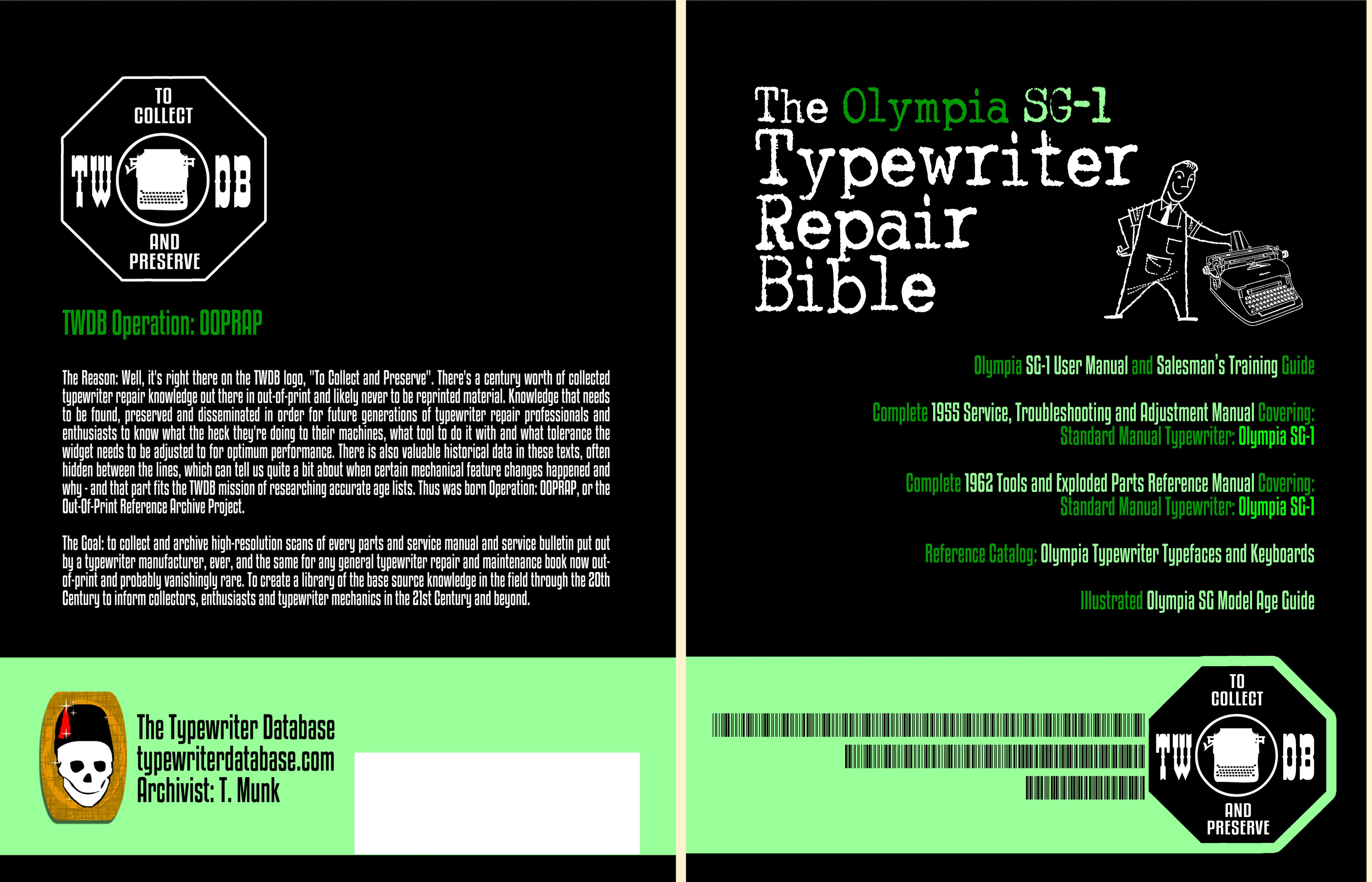 The Olympia SG1 Typewriter Repair Bible cover image